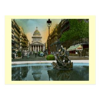 Cartão Postal Rua Soufflot, panteão, vintage de Paris, France