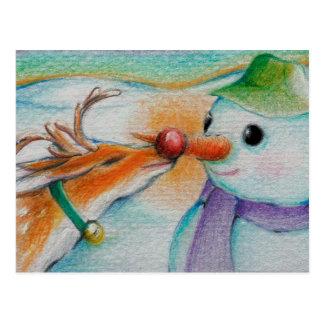 Cartão Postal Rudolf encontra o boneco de neve