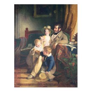 Cartão Postal Rudolf von Arthaber com suas crianças Rudolf