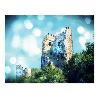 Cartão Postal Ruína azul Sparkling do castelo do conto de fadas
