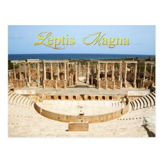 Cartão Postal Ruínas do teatro em Leptis Magna, Líbia