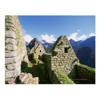 Cartão Postal Ruínas Incan em Machu Picchu nos Andes