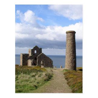 Cartão Postal Ruine Cornish da mineração no moinho wheal 03