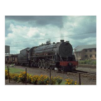 Cartão Postal Rússia, grupo com trem, l do diesel da estrada da