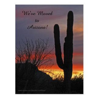 Cartão Postal Saguaro no por do sol, anúncio novo do endereço