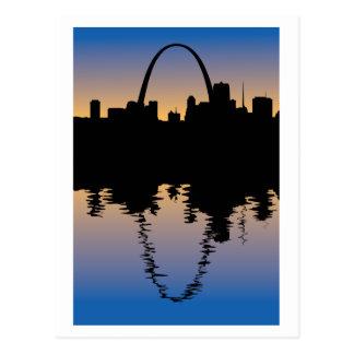 Cartão Postal Saint Louis do centro, silhueta de Missouri