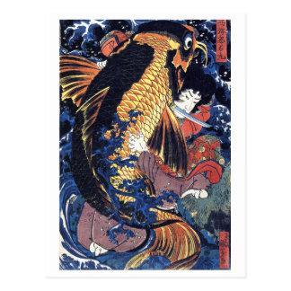 Cartão Postal Saito Oniwakamaru, Utagawa Kuniyoshi
