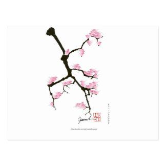 Cartão Postal sakura com os pássaros cor-de-rosa por fernandes