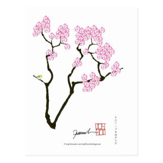 Cartão Postal sakura com pássaro verde, fernandes tony