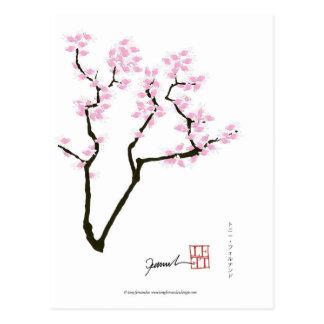 Cartão Postal sakura com peixe dourado cor-de-rosa, fernandes