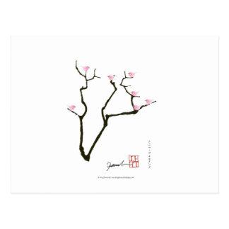 Cartão Postal sakura e 7 pássaros cor-de-rosa 1, fernandes tony