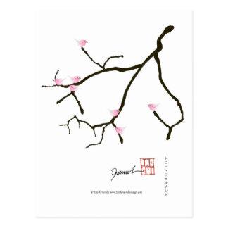 Cartão Postal sakura e 7 pássaros cor-de-rosa 2, fernandes tony
