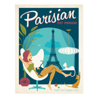 Cartão Postal Sala de estar parisiense do animal de estimação