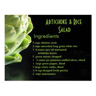 Cartão Postal Salada da alcachofra & do arroz…
