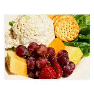 Cartão Postal Salada de frango com frutas & biscoitos