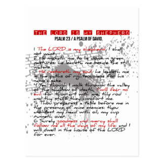 Cartão Postal Salmo 23: Estilo vermelho, preto, branco do Grunge