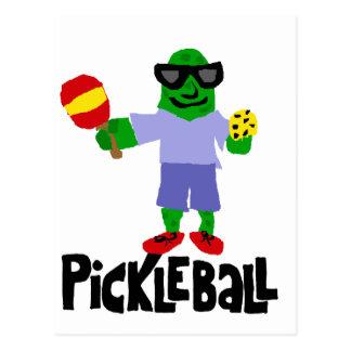 Cartão Postal Salmoura engraçada com pá de Pickleball