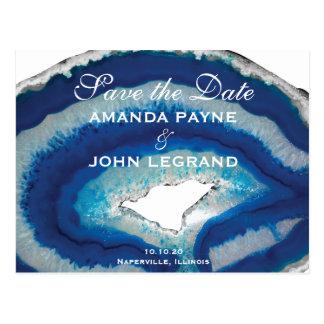 Cartão Postal Salvar a ágata azul da data |