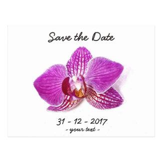 Cartão Postal Salvar a data, arte floral do phalaenopsis do