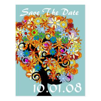 Cartão Postal Salvar a data - árvore da flor