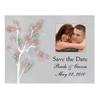Cartão Postal Salvar a data - árvore floral cor-de-rosa