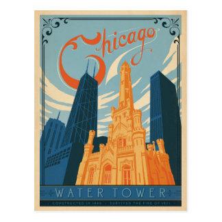 Cartão Postal Salvar a data   Chicago, IL - torre de água