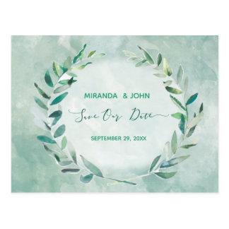 Cartão Postal Salvar a data nas folhas da aguarela