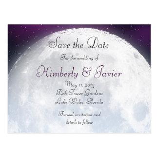 Cartão Postal Salvar a data para o casamento temático do espaço