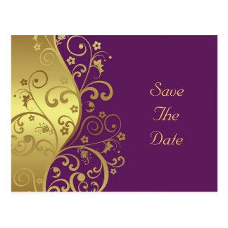 Cartão Postal Salvar a data--Redemoinhos do ouro & violeta