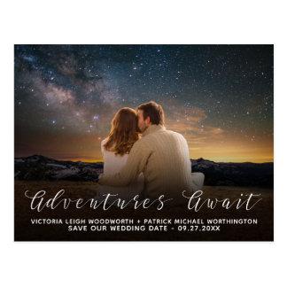 Cartão Postal Salvar as aventuras da data esperam o casamento da