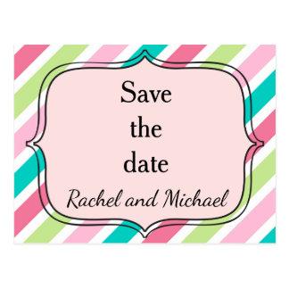 Cartão Postal Salvar as listras cor-de-rosa e azuis da data
