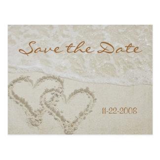 Cartão Postal Salvar as ondas do coração da data