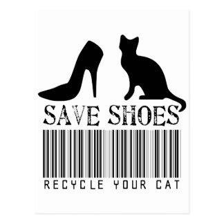 Cartão Postal Salvar calçados recicl seu gato