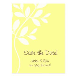 Cartão Postal Salvar o amarelo do selo do ramo da folha do