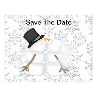 Cartão Postal Salvar o boneco de neve da NOIVA & do NOIVO da