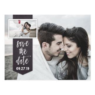 Cartão Postal Salvar o casamento rústico do quadro da foto da
