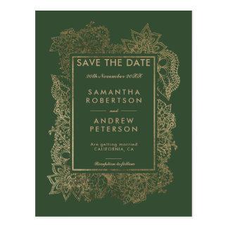 Cartão Postal Salvar o casamento verde do ouro floral da data