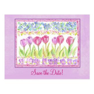 Cartão Postal Salvar o desenho da flor da tulipa da lavanda do