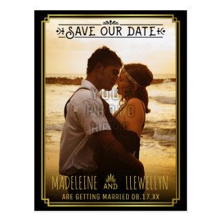 Cartão Postal Salvar o ouro preto retro Deco da data que Wedding