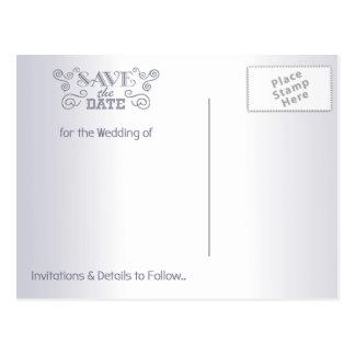 Cartão Postal Salvar os pássaros do amor do vintage da prata do