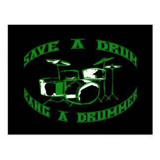 Cartão Postal Salvar um cilindro - golpeie um baterista no verde