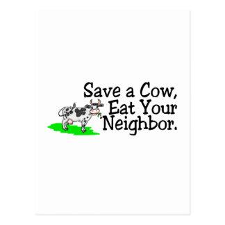 Cartão Postal Salvar uma vaca comem seu vizinho