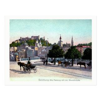Cartão Postal Salzburg, Áustria, Staatsbrücke, vintage 1910