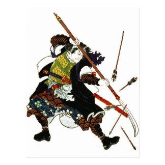 Cartão Postal Samurai de Ronin que deflexiona a arte de Japão do