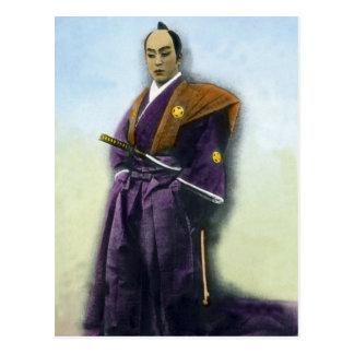 Cartão Postal Samurai do vintage e mão da espada colorida