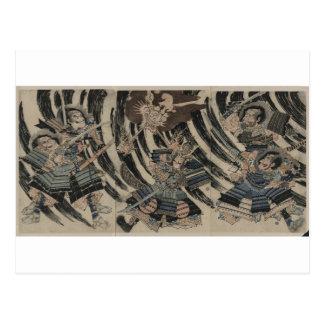 Cartão Postal Samurai e demónio cerca de 1818