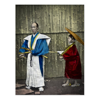 Cartão Postal Samurai e empregado