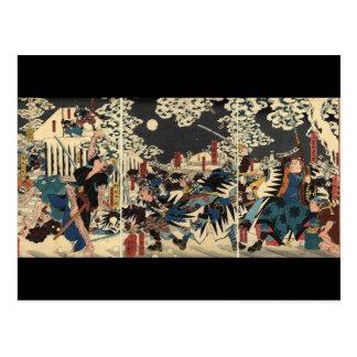 Cartão Postal Samurai na guerra na neve cerca de 1800's