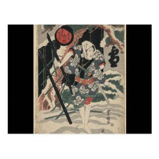 Cartão Postal Samurai na neve cerca de 1825