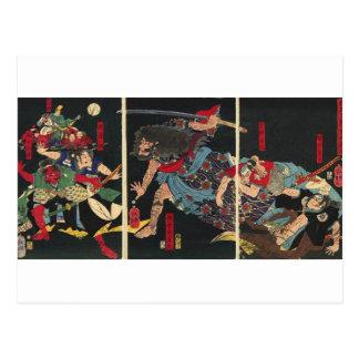 Cartão Postal Samurai na pintura do combate. cerca de 1860